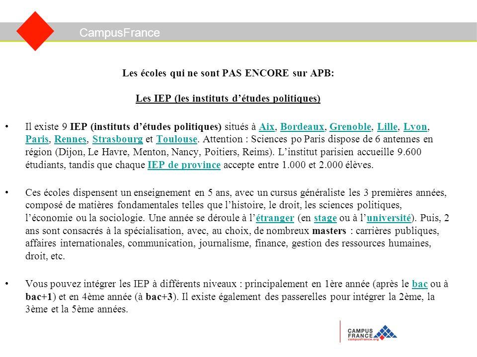 CampusFrance Les écoles qui ne sont PAS ENCORE sur APB: Les IEP (les instituts détudes politiques) Il existe 9 IEP (instituts détudes politiques) situés à Aix, Bordeaux, Grenoble, Lille, Lyon, Paris, Rennes, Strasbourg et Toulouse.
