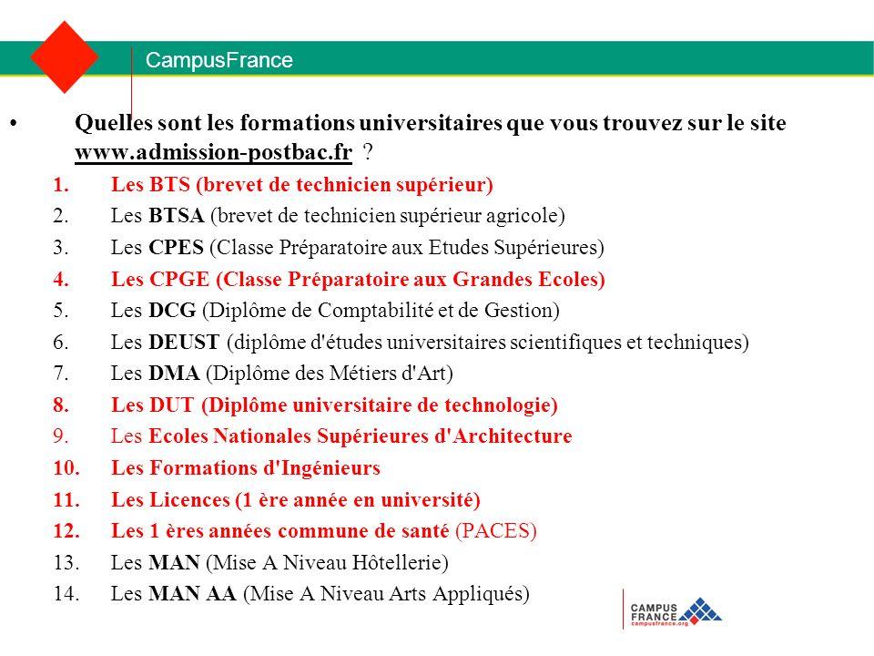 CampusFrance Quelles sont les formations universitaires que vous trouvez sur le site www.admission-postbac.fr .