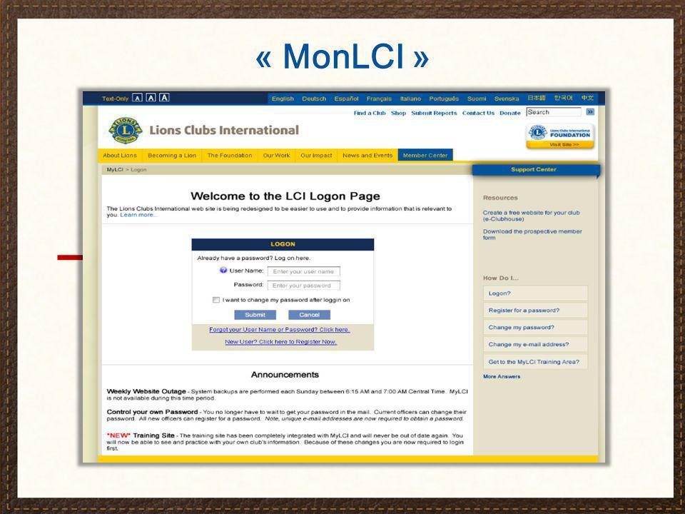 « MonLCI » et le secrétaire de club Transmission des rapports en ligne Accès et gestion de l effectif à la demande Transmission et consultation des rapports d activités de service