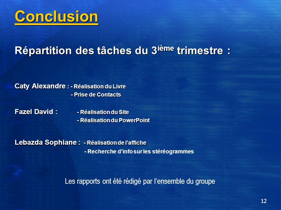 12 Conclusion Répartition des tâches du 3 ième trimestre : Caty Alexandre : - Réalisation du Livre - Prise de Contacts Fazel David : - Réalisation du