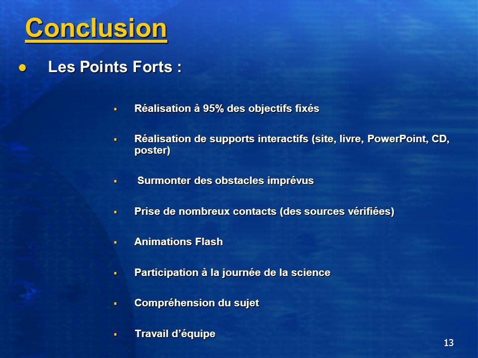 13 Conclusion Les Points Forts : Les Points Forts : Réalisation à 95% des objectifs fixés Réalisation à 95% des objectifs fixés Réalisation de support