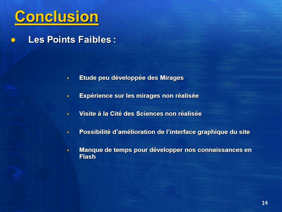 14 Conclusion Les Points Faibles : Les Points Faibles : Etude peu développée des Mirages Etude peu développée des Mirages Expérience sur les mirages n