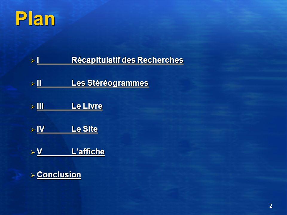 2 Plan IRécapitulatif des Recherches IRécapitulatif des Recherches II Les Stéréogrammes II Les Stéréogrammes IIILe Livre IIILe Livre IV Le Site IV Le