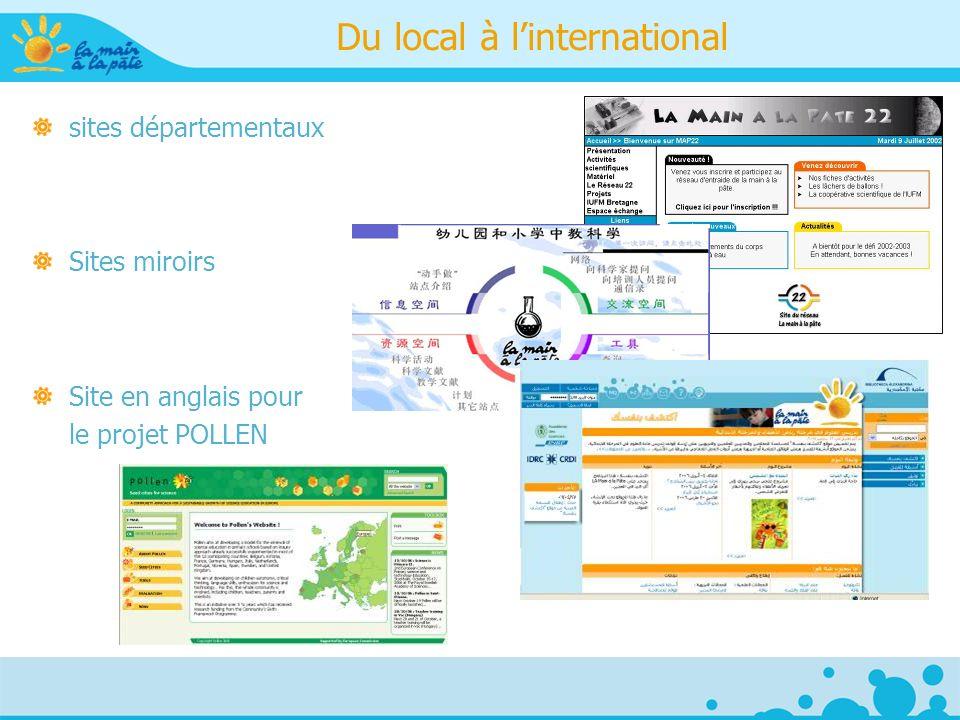 Du local à linternational sites départementaux Sites miroirs Site en anglais pour le projet POLLEN