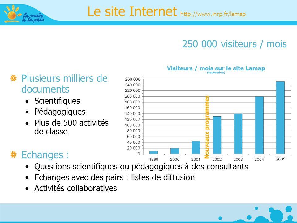 250 000 visiteurs / mois Plusieurs milliers de documents Scientifiques Pédagogiques Plus de 500 activités de classe Echanges : Questions scientifiques