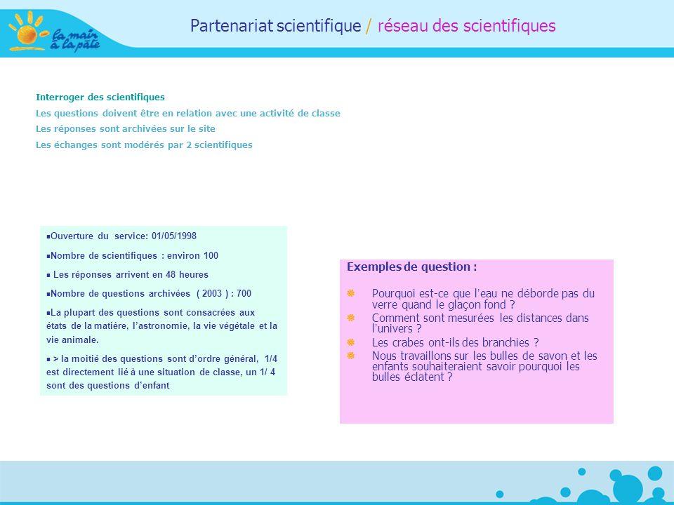 Partenariat scientifique / réseau des scientifiques Interroger des scientifiques Les questions doivent être en relation avec une activité de classe Le