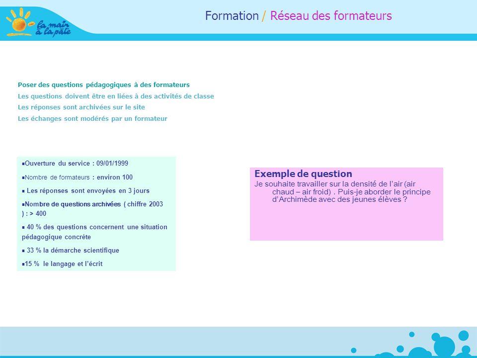 Formation / Réseau des formateurs Poser des questions pédagogiques à des formateurs Les questions doivent être en liées à des activités de classe Les