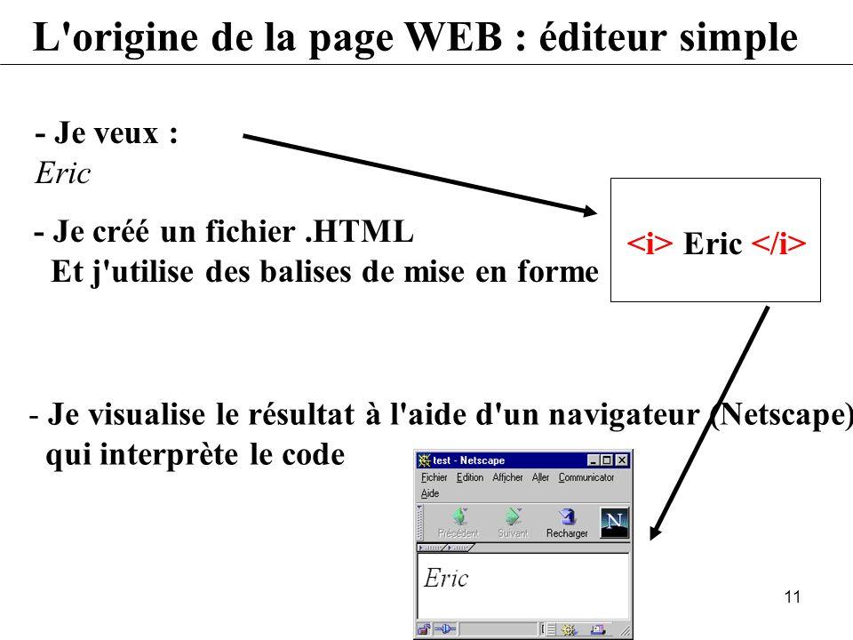 10 L'origine de la page WEB Transmettre des informations à l'autre bout du monde Le code ASCII=255 caractères L'éditeur de texte (Bloc-notes) Le trait