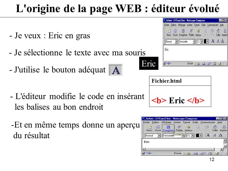 11 L'origine de la page WEB : éditeur simple - Je veux : Eric - Je visualise le résultat à l'aide d'un navigateur (Netscape) qui interprète le code -