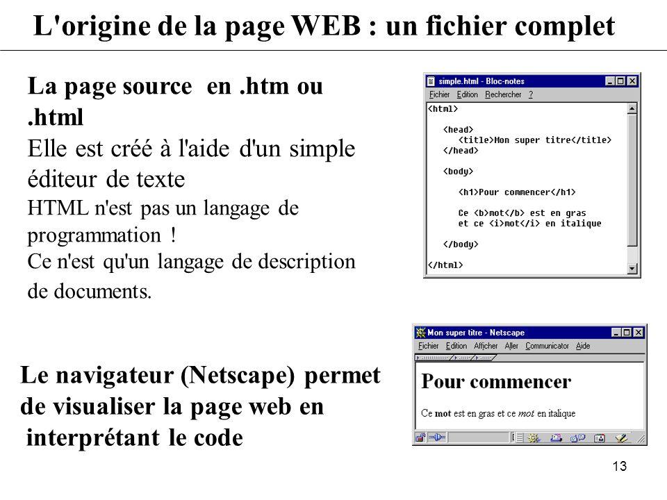 12 L'origine de la page WEB : éditeur évolué - Je veux : Eric en gras - L'éditeur modifie le code en insérant les balises au bon endroit - Je sélectio