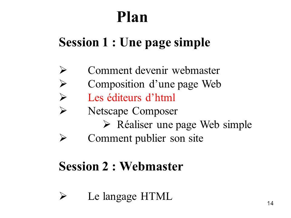13 L'origine de la page WEB : un fichier complet La page source en.htm ou.html Elle est créé à l'aide d'un simple éditeur de texte HTML n'est pas un l