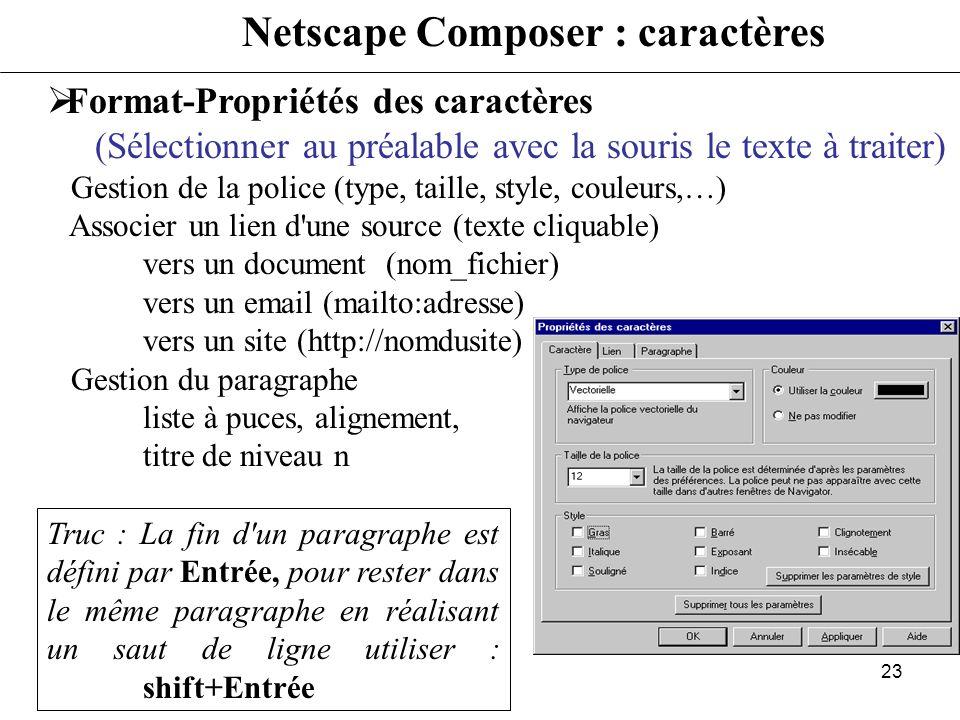 22 Netscape Composer Fichier-Nouveau-Page vierge Fichier-Enregistrer sous Donner le nom du fichier Donner le titre de la page HTML Format-Propriétés e
