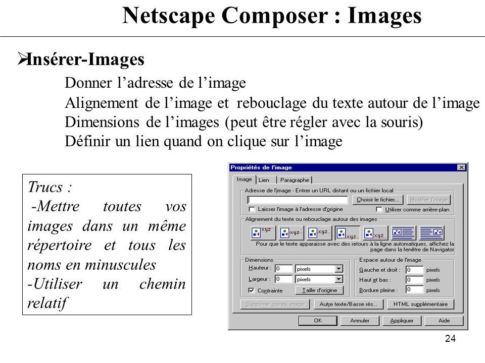 23 Netscape Composer : caractères Format-Propriétés des caractères (Sélectionner au préalable avec la souris le texte à traiter) Gestion de la police