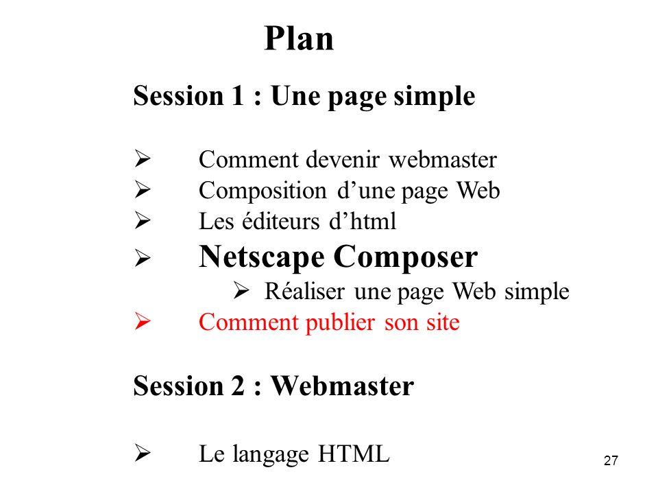 26 Netscape Composer : Le résultat Vérifier le résultat sur plusieurs navigateurs Netscape : en utilisant l'icône Internet explorer, Mozilla firefox,