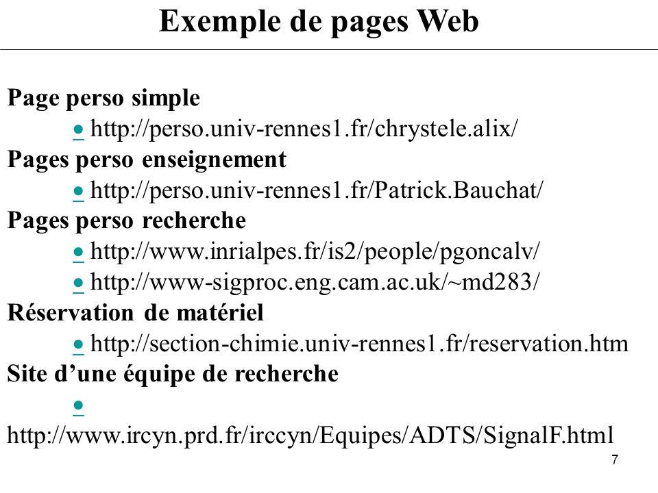 6 Quel type de pages Pages personnelles CV Disponibilité (horaires, agenda) Le site de léquipe de recherche Vitrine des activités Organisation de linf