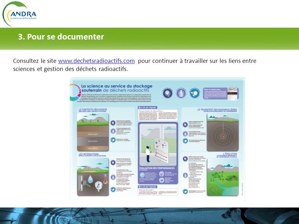 3. Pour se documenter Consultez le site www.dechetsradioactifs.com pour continuer à travailler sur les liens entre sciences et gestion des déchets rad