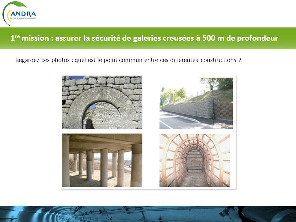 Regardez ces photos : quel est le point commun entre ces différentes constructions ? 1 re mission : assurer la sécurité de galeries creusées à 500 m d