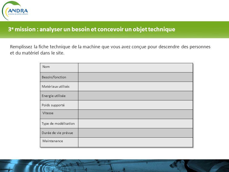 Remplissez la fiche technique de la machine que vous avez conçue pour descendre des personnes et du matériel dans le site. 3 e mission : analyser un b