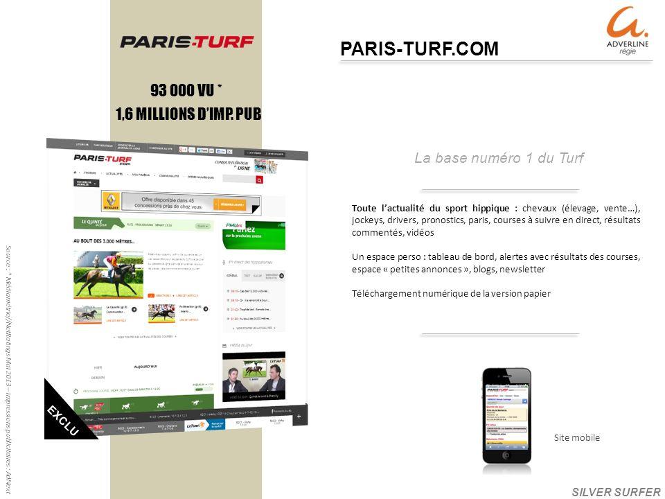 La base numéro 1 du Turf PARIS-TURF.COM 1,6 MILLIONS DIMP.