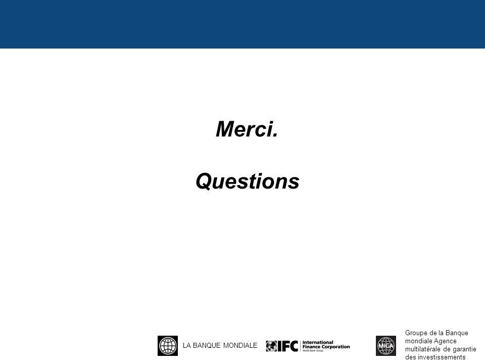 LA BANQUE MONDIALE Groupe de la Banque mondiale Agence multilatérale de garantie des investissements Merci.