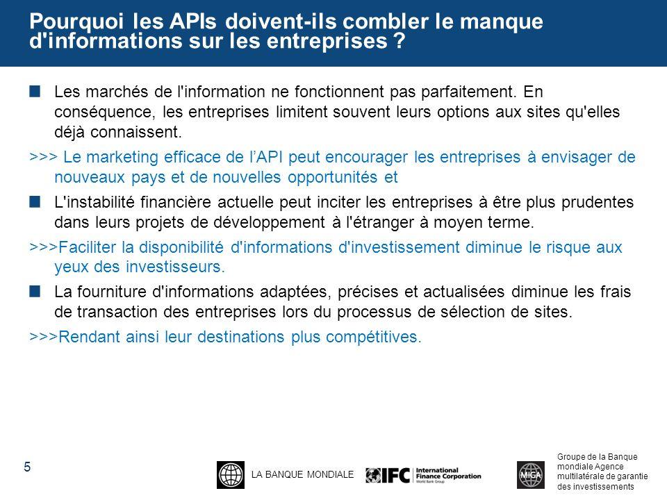 LA BANQUE MONDIALE Groupe de la Banque mondiale Agence multilatérale de garantie des investissements Pourquoi les APIs doivent-ils combler le manque d informations sur les entreprises .