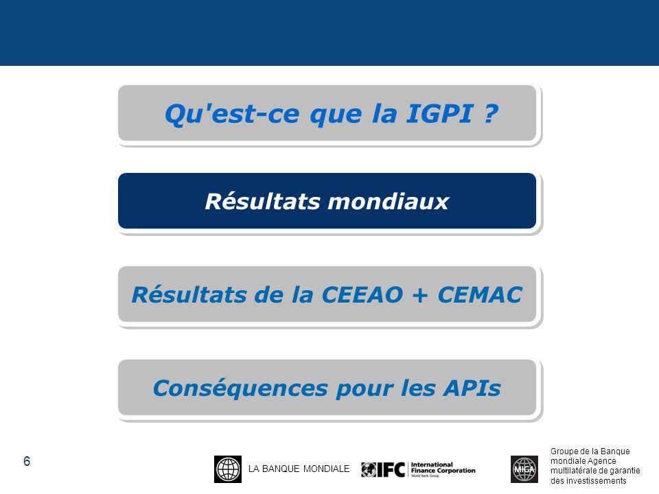 LA BANQUE MONDIALE Groupe de la Banque mondiale Agence multilatérale de garantie des investissements 6 Qu est-ce que la IGPI .