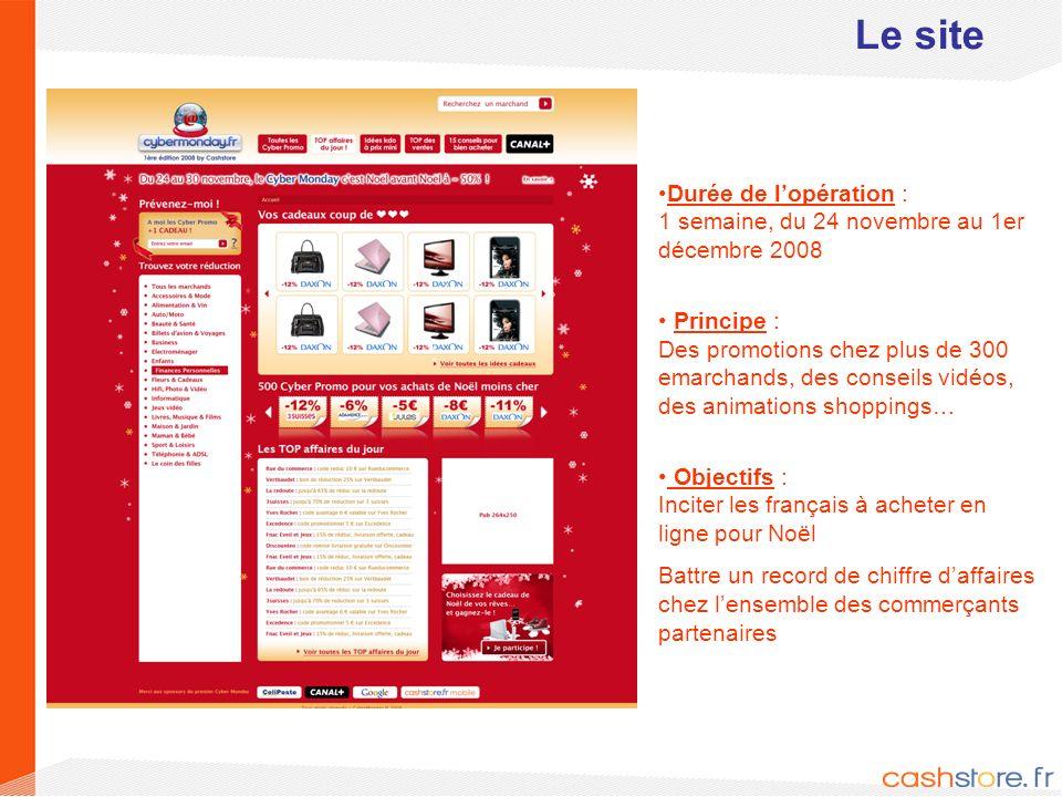 3 Le site Durée de lopération : 1 semaine, du 24 novembre au 1er décembre 2008 Principe : Des promotions chez plus de 300 emarchands, des conseils vid