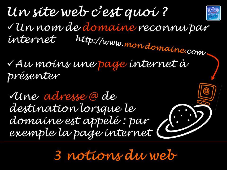 Un nom de domaine reconnu par internet Au moins une page internet à présenter Un site web cest quoi ? 3 notions du web http://www.mon domaine.com Une
