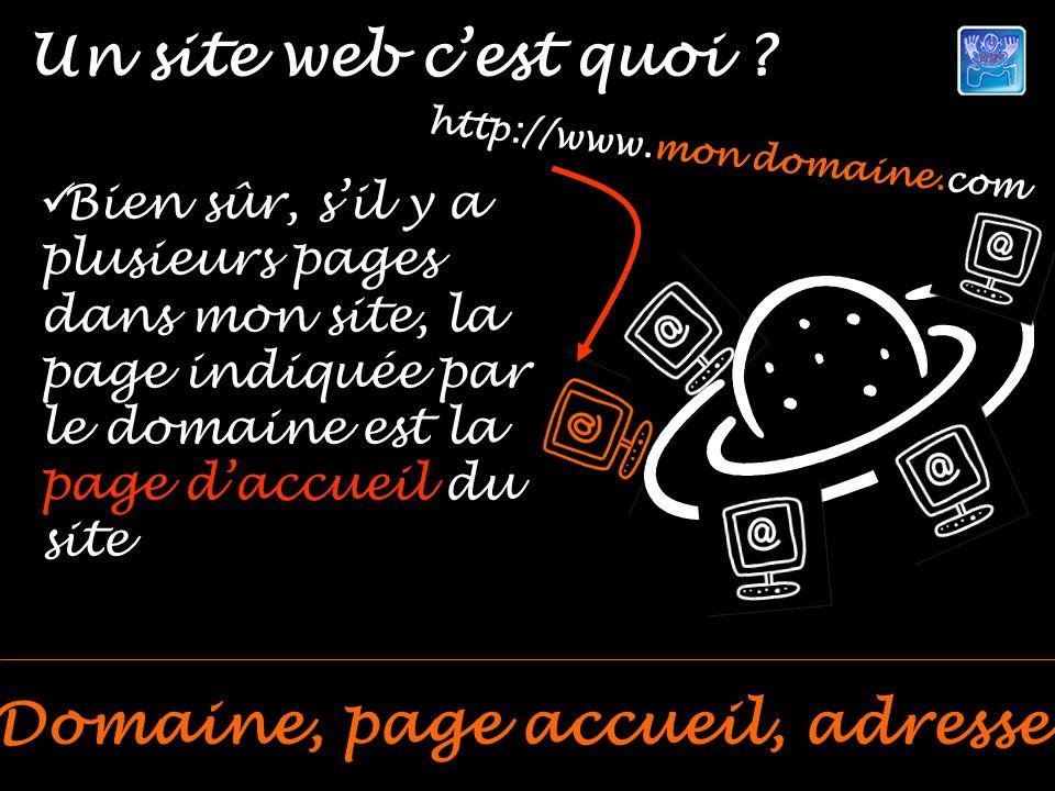 Un site web cest quoi ? Domaine, page accueil, adresse http://www.mon domaine.com Bien sûr, sil y a plusieurs pages dans mon site, la page indiquée pa