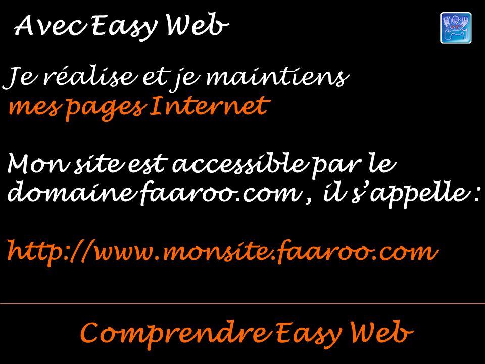 Je réalise et je maintiens mes pages Internet Mon site est accessible par le domaine faaroo.com, il sappelle : http://www.monsite.faaroo.com Avec Easy