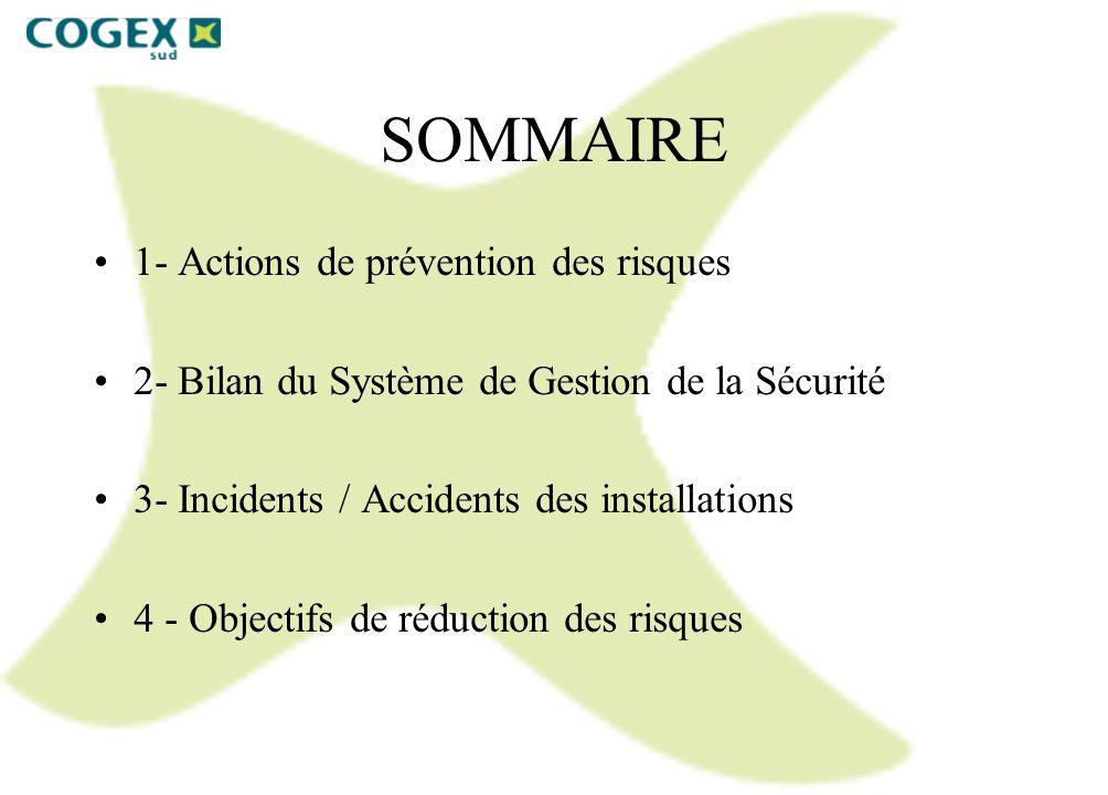 SOMMAIRE 1- Actions de prévention des risques 2- Bilan du Système de Gestion de la Sécurité 3- Incidents / Accidents des installations 4 - Objectifs d