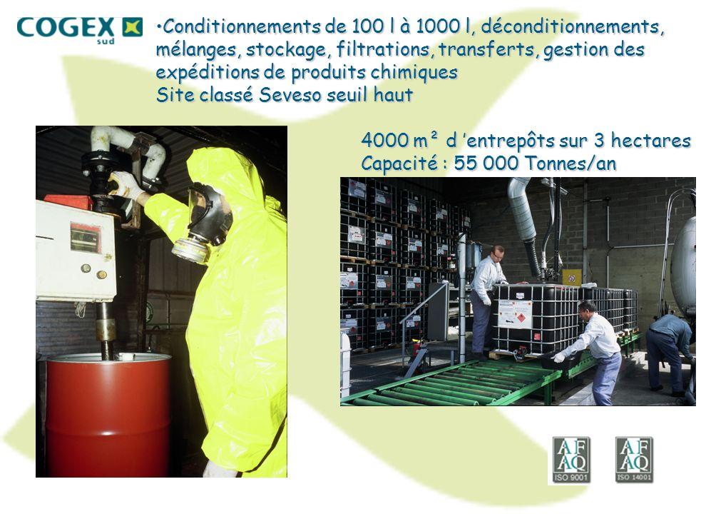 Conditionnements de 100 l à 1000 l, déconditionnements, mélanges, stockage, filtrations, transferts, gestion des expéditions de produits chimiques Sit
