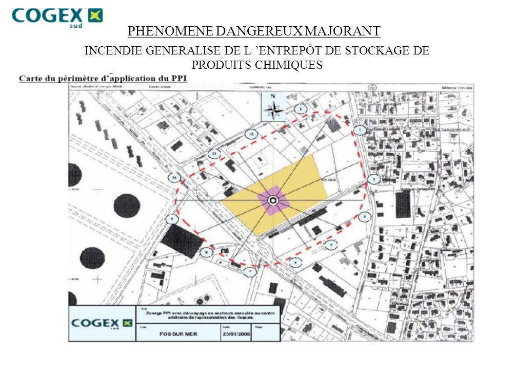 PHENOMENE DANGEREUX MAJORANT INCENDIE GENERALISE DE L ENTREPÔT DE STOCKAGE DE PRODUITS CHIMIQUES –