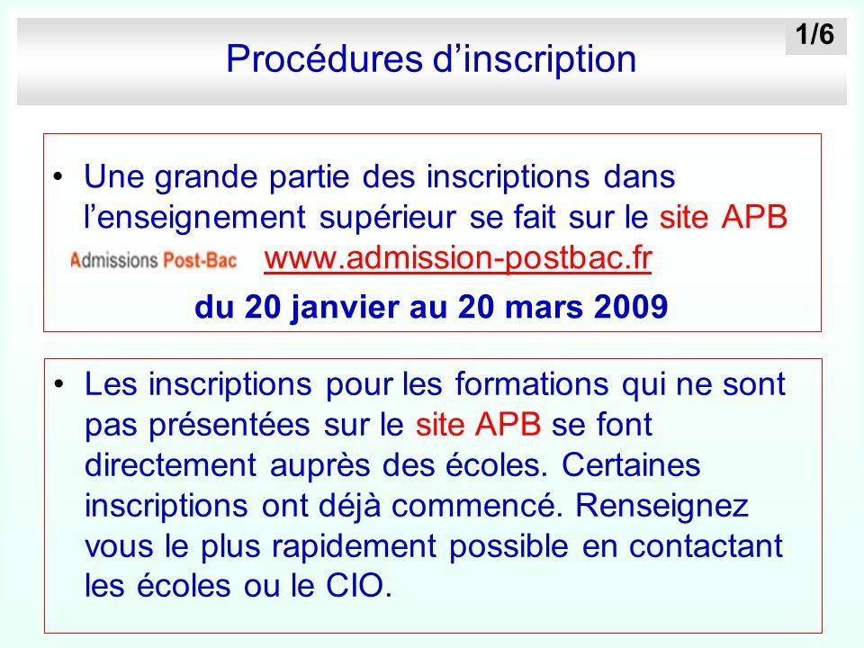Procédures dinscription Une grande partie des inscriptions dans lenseignement supérieur se fait sur le site APB www.admission-postbac.fr www.admission