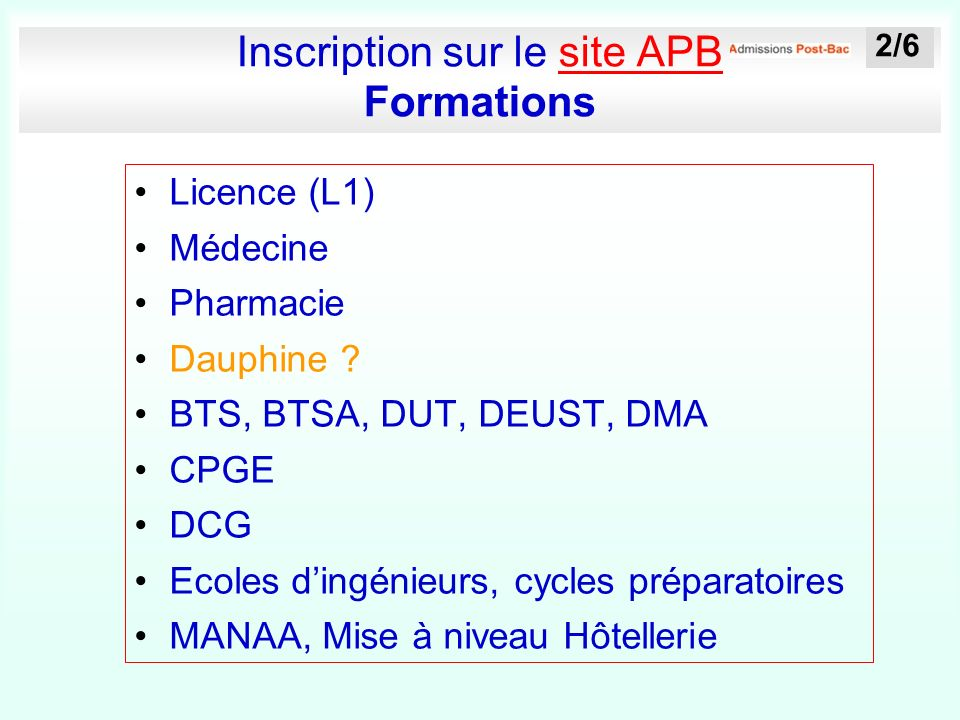 Inscription sur le site APB Formationssite APB Licence (L1) Médecine Pharmacie Dauphine .