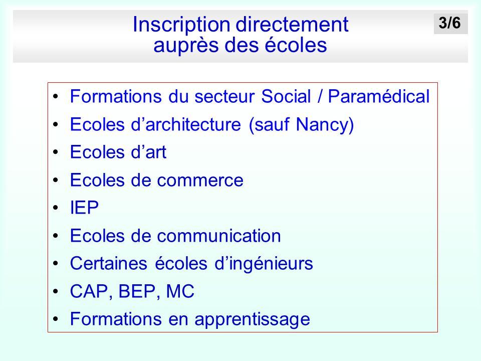 Inscription directement auprès des écoles Formations du secteur Social / Paramédical Ecoles darchitecture (sauf Nancy) Ecoles dart Ecoles de commerce