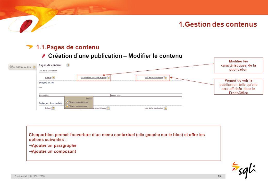 Confidentiel | © SQLI 2008 15 1.Gestion des contenus 1.1.Pages de contenu Création dune publication – Modifier le contenu Chaque bloc permet louvertur