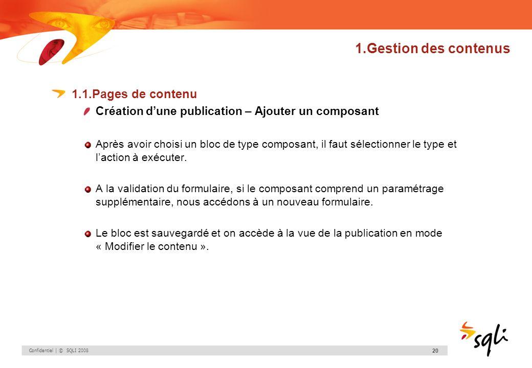 Confidentiel | © SQLI 2008 20 1.Gestion des contenus 1.1.Pages de contenu Création dune publication – Ajouter un composant Après avoir choisi un bloc