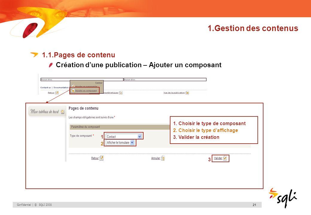 Confidentiel | © SQLI 2008 21 1.Gestion des contenus 1.1.Pages de contenu Création dune publication – Ajouter un composant 1. Choisir le type de compo