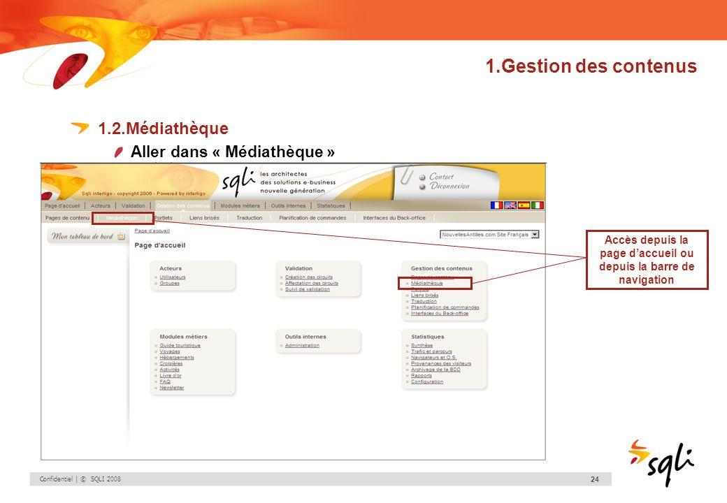 Confidentiel | © SQLI 2008 24 1.Gestion des contenus 1.2.Médiathèque Aller dans « Médiathèque » Accès depuis la page daccueil ou depuis la barre de na