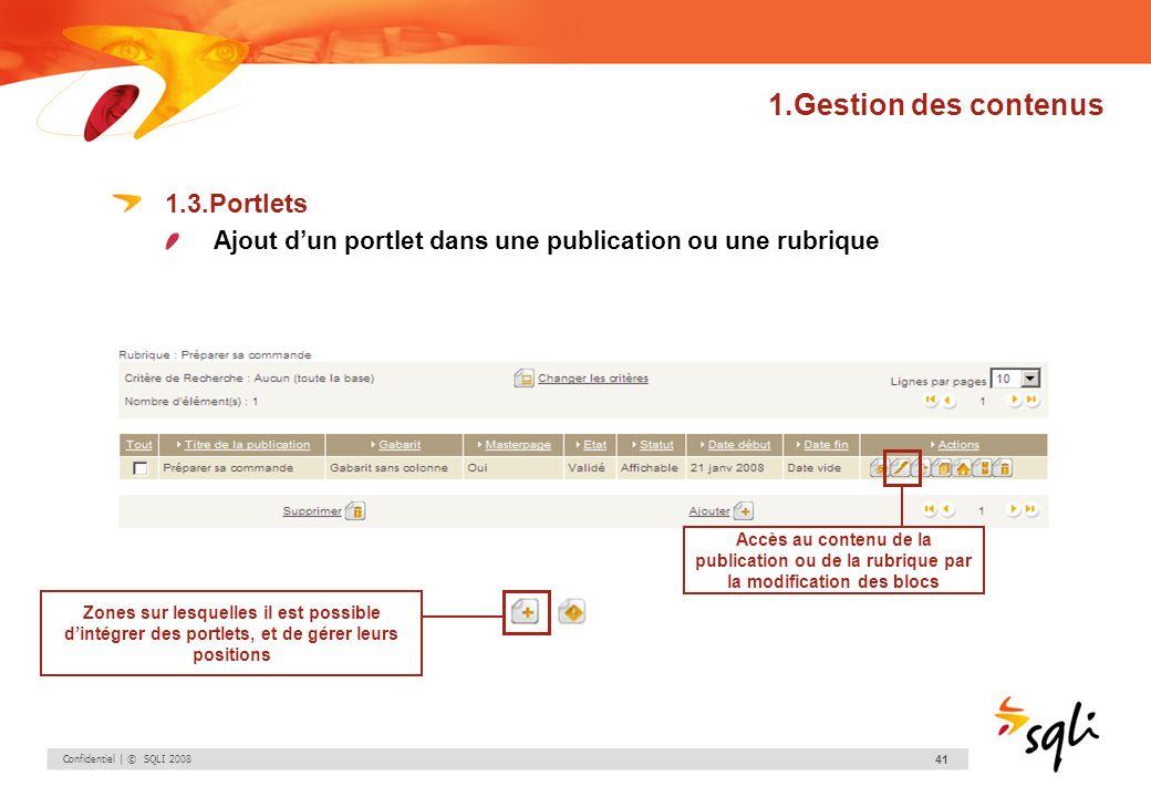 Confidentiel | © SQLI 2008 41 1.Gestion des contenus 1.3.Portlets Ajout dun portlet dans une publication ou une rubrique Accès au contenu de la public