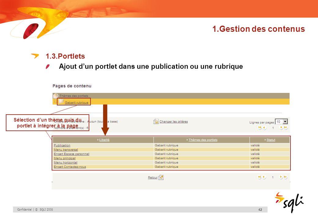 Confidentiel | © SQLI 2008 42 1.Gestion des contenus 1.3.Portlets Ajout dun portlet dans une publication ou une rubrique Sélection dun thème puis du p