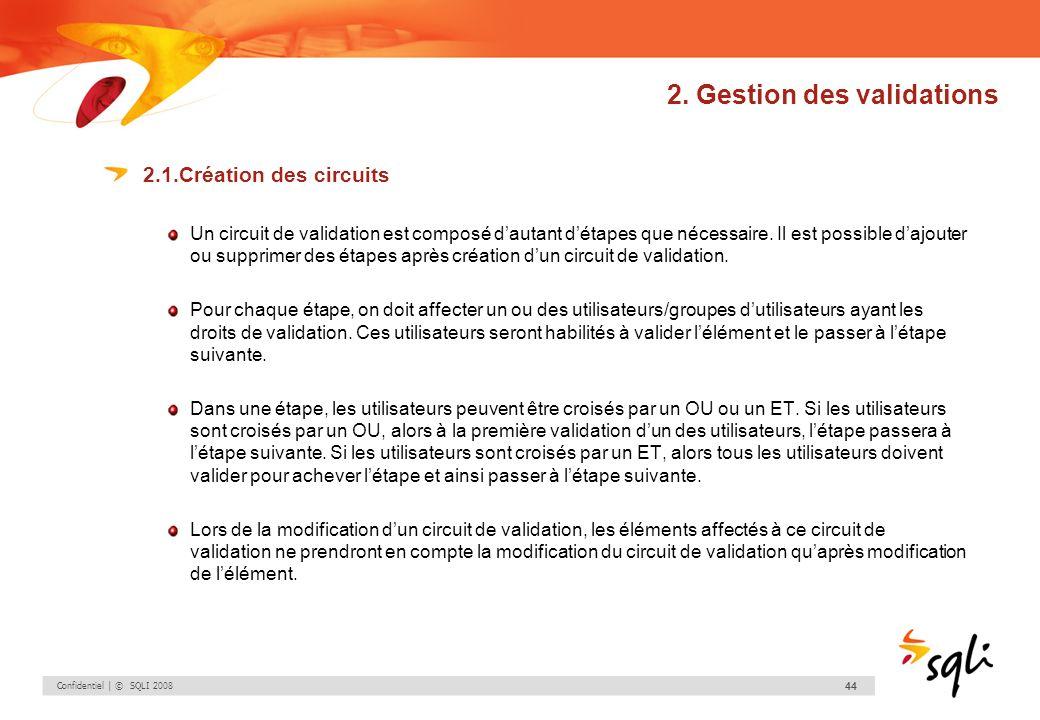 Confidentiel | © SQLI 2008 44 2. Gestion des validations 2.1.Création des circuits Un circuit de validation est composé dautant détapes que nécessaire
