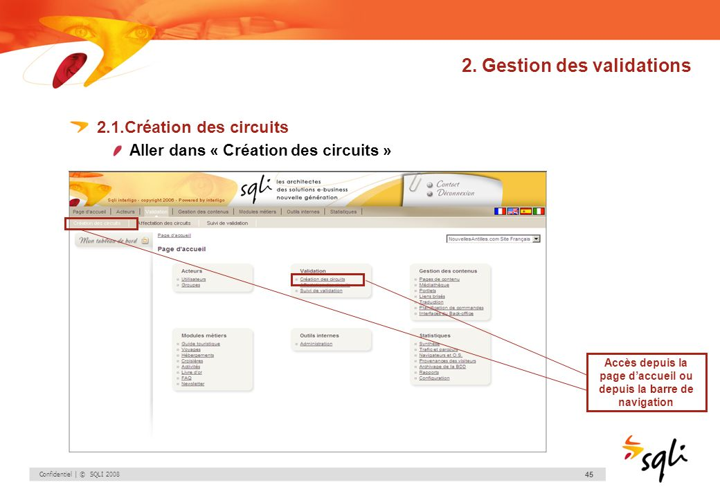 Confidentiel | © SQLI 2008 45 2. Gestion des validations 2.1.Création des circuits Aller dans « Création des circuits » Accès depuis la page daccueil