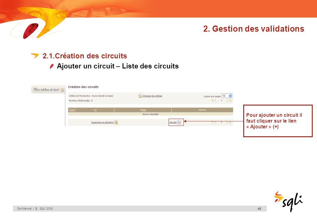 Confidentiel | © SQLI 2008 46 2. Gestion des validations 2.1.Création des circuits Ajouter un circuit – Liste des circuits Pour ajouter un circuit il