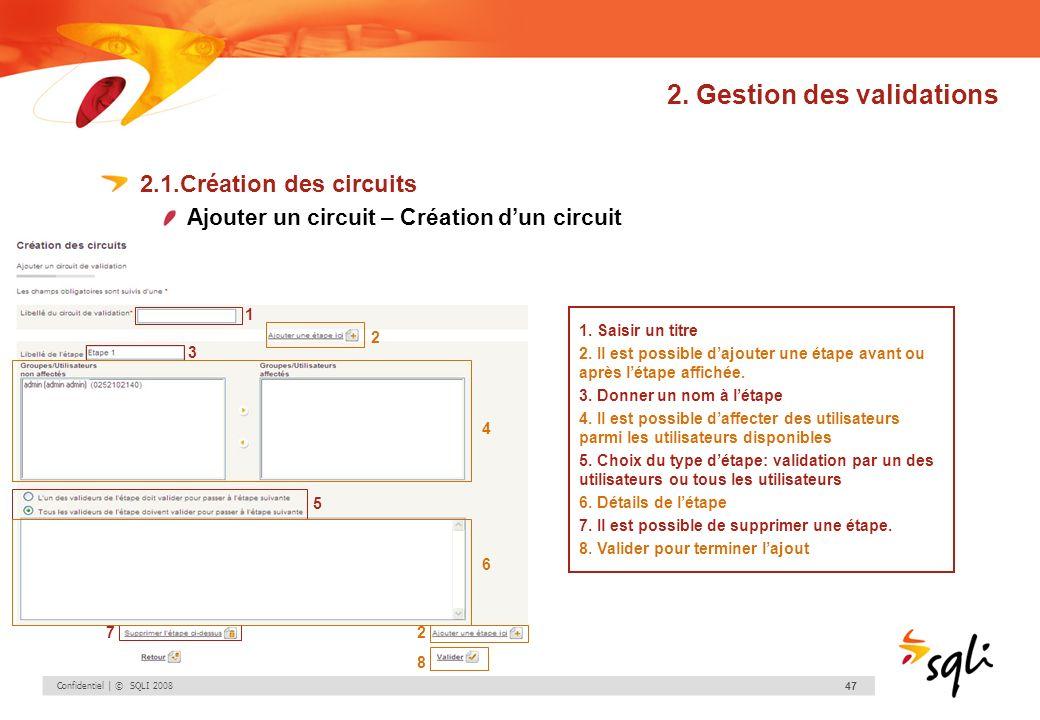 Confidentiel | © SQLI 2008 47 2. Gestion des validations 2.1.Création des circuits Ajouter un circuit – Création dun circuit 1. Saisir un titre 2. Il