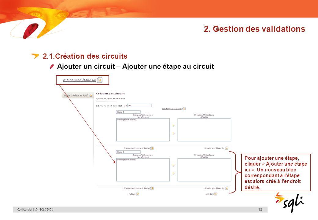 Confidentiel | © SQLI 2008 48 2. Gestion des validations 2.1.Création des circuits Ajouter un circuit – Ajouter une étape au circuit Pour ajouter une
