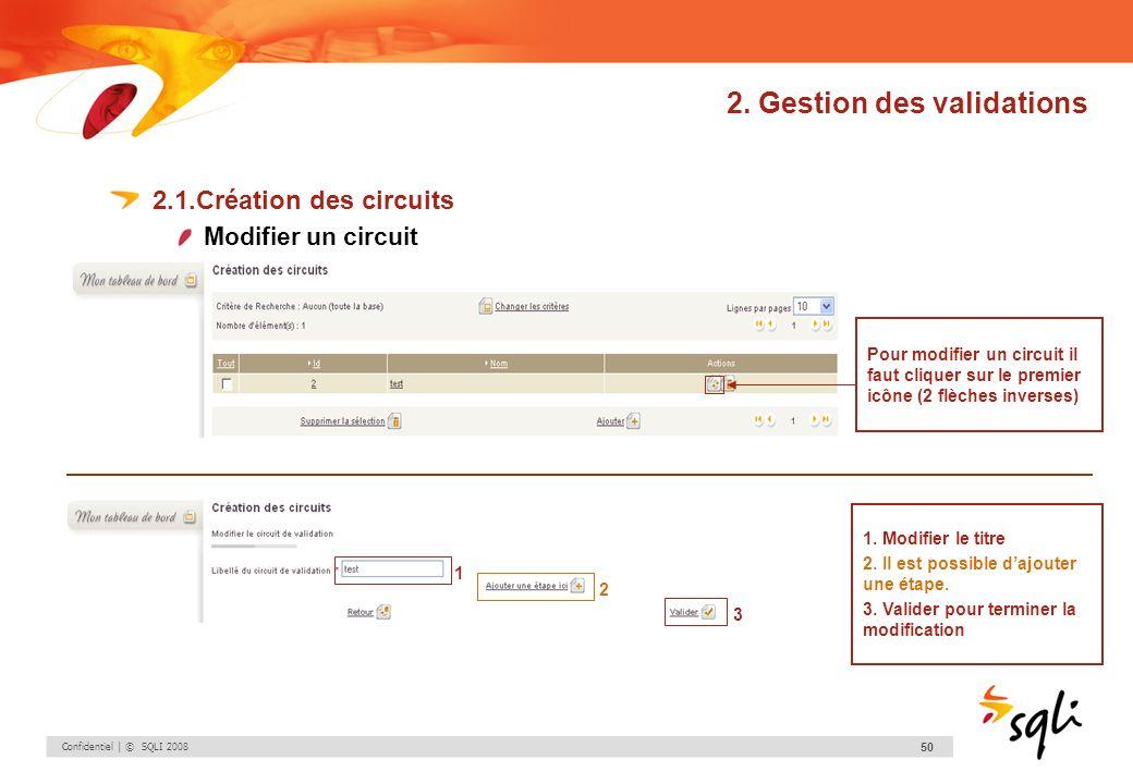 Confidentiel | © SQLI 2008 50 2. Gestion des validations 2.1.Création des circuits Modifier un circuit Pour modifier un circuit il faut cliquer sur le