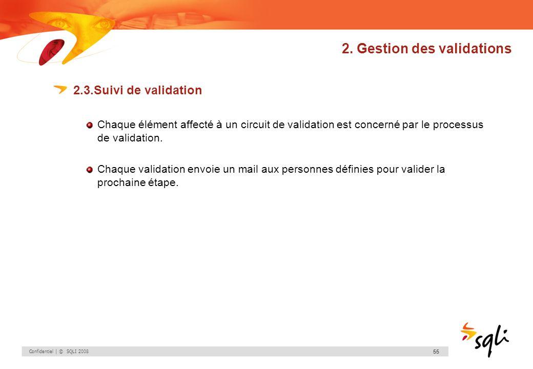 Confidentiel | © SQLI 2008 55 2. Gestion des validations 2.3.Suivi de validation Chaque élément affecté à un circuit de validation est concerné par le