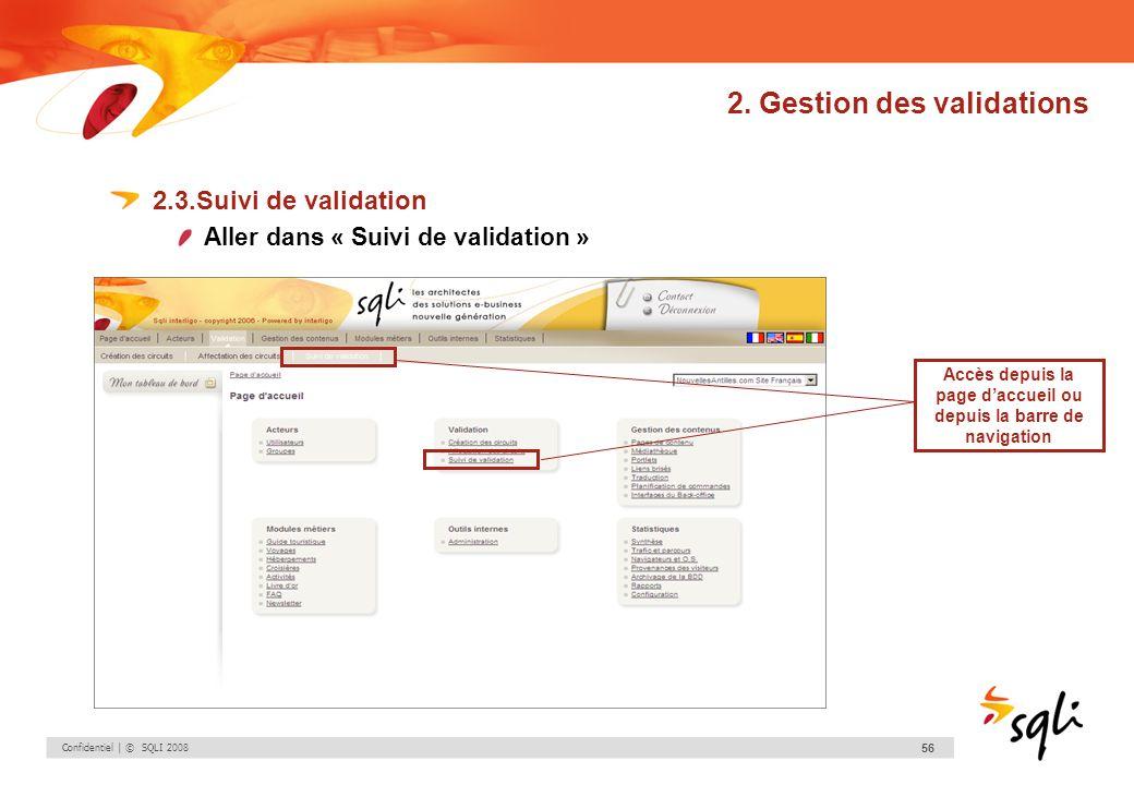 Confidentiel | © SQLI 2008 56 2. Gestion des validations 2.3.Suivi de validation Aller dans « Suivi de validation » Accès depuis la page daccueil ou d
